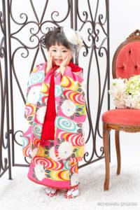 レトロローズピンク色着物 3歳