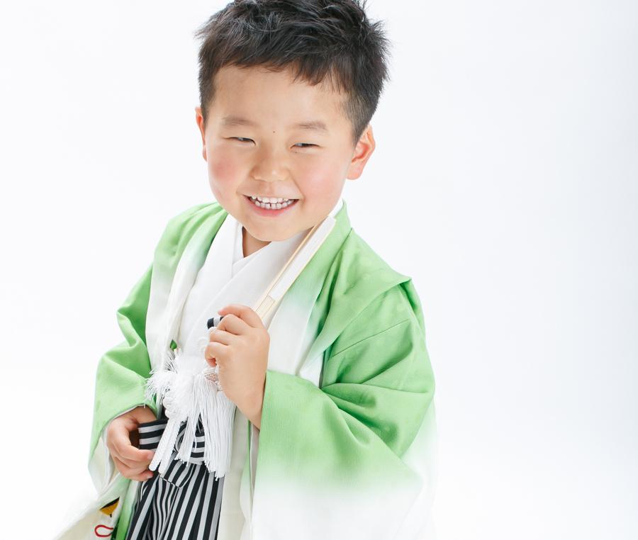七五三男の子着物レトロな狛犬刺繍羽織袴レンタル宅配開始