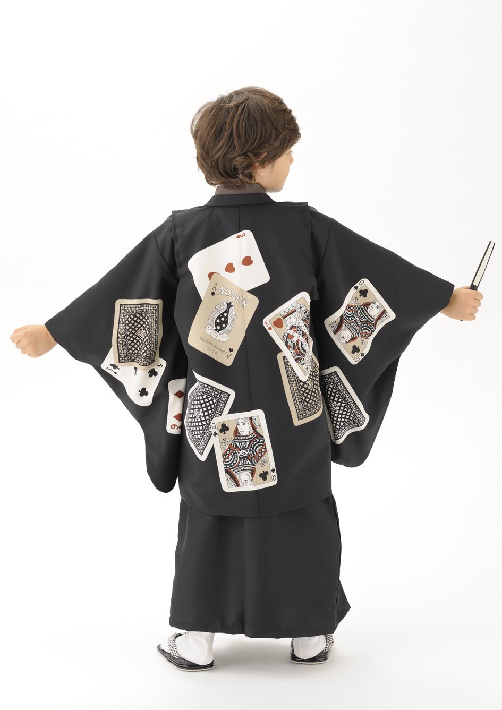 トランプ柄のレトロな着物5歳